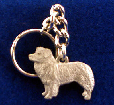GG Harris Fine Pewter Dog Key Ring Chain & Pouch NEW Border Collie