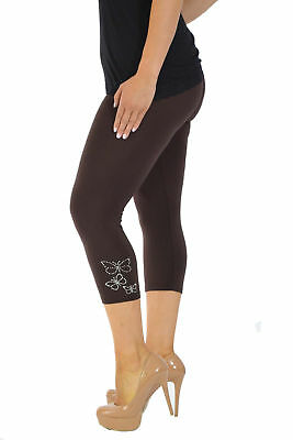 Ladies Plus Size Leggings Womens Butterfly Studded Cuffs Cropped Length Nouvelle