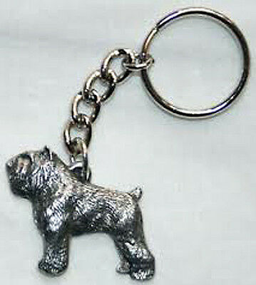 GG Harris Fine Pewter Dog Key Ring Chain & Pouch NEW Bouvier des Flandres