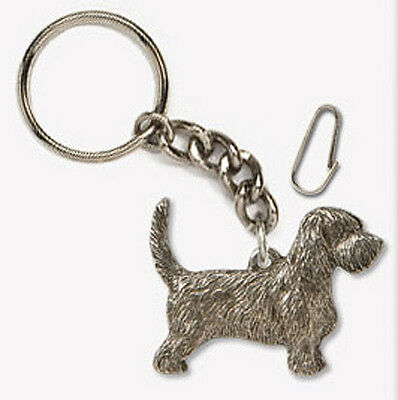 GG Harris Pewter Dog Key Ring Chain & Pouch NEW Petit Basset Griffon Vendeen