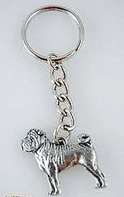 GG Harris Fine Pewter Dog Key Ring Chain & Pouch NEW Shar Pei