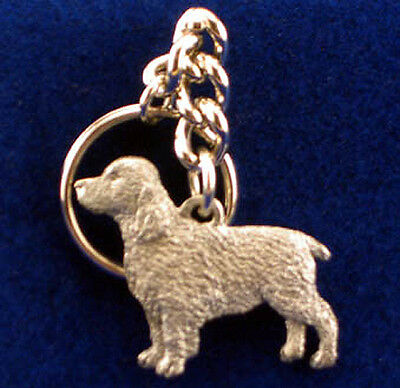 GG Harris Pewter Dog Key Ring Chain & Pouch NEW English Springer Spaniel