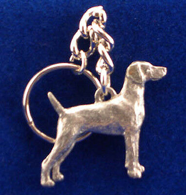 GG Harris Pewter Dog Key Ring Chain & Pouch NEW Weimaraner