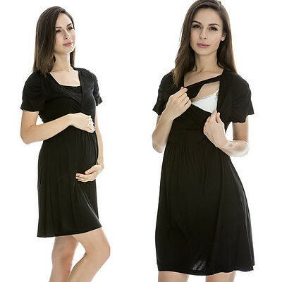 Sale!! Bnwt Black Maternity Breastfeeding Nursing Dress Size M L Xl 10 12 14 16