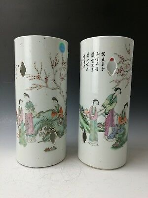 Two Chinese Antique Late Qing Dynasty Porcelain Hat Stands painting calligraphy