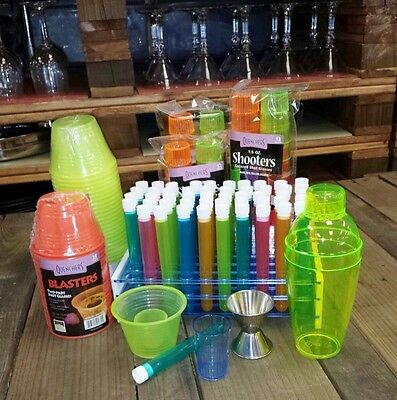 Shooter Party Pack with Test Tube Shot Glasses, Party Bomber Shot Cups and more!