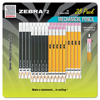 #2 Mechanical Pencil, 14 Yellow/14 Black, 28/Pack
