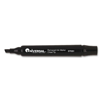 Permanent Markers, Chisel Tip, Black, 12/Pack