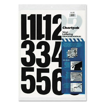 Press-On Vinyl Numbers, Self Adhesive, Black, 4''h, 23/Pack