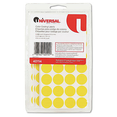 Permanent Self-Adhesive Color-Coding Labels, 3/4'' dia, Yellow, 1008/Pack