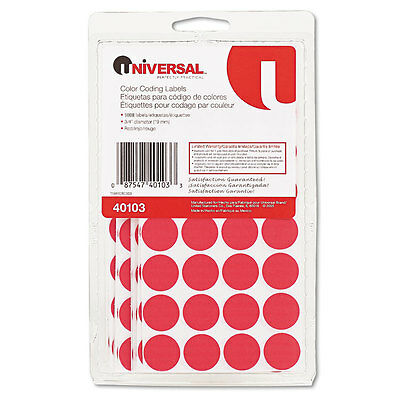 Permanent Self-Adhesive Color-Coding Labels, 3/4'' dia, Red, 1008/Pack