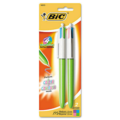 4-Color Ballpoint Retractable Pen, Assorted Ink, 1mm, Medium, 2/Pack
