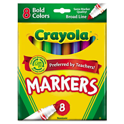 Non-Washable Markers, Broad Point, Bold Colors, 8/Set