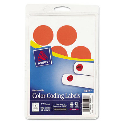 Printable Removable Color-Coding Labels, 1 1/4'' dia, Neon Red, 400/Pack