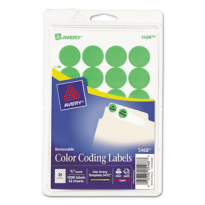 Printable Removable Color-Coding Labels, 3/4'' dia, Neon Green, 1008/Pack