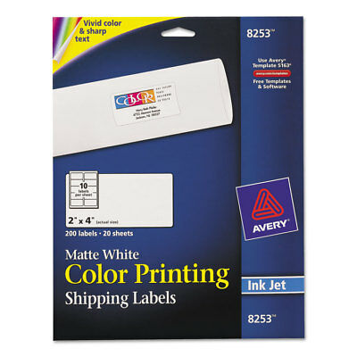 Color Printing Mailing Labels, 2 x 4, Matte White, 200/Pack