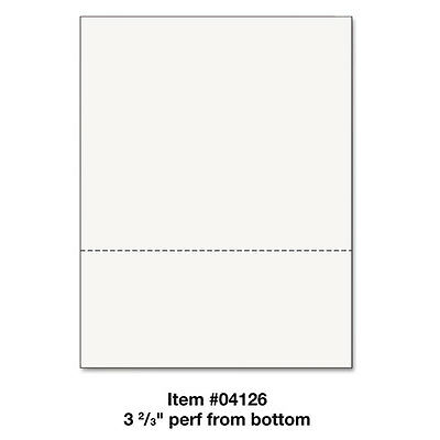Office Paper, Perforated 3 2/3'' From Bottom, 8 1/2 x 11, 24-lb, 500/Ream