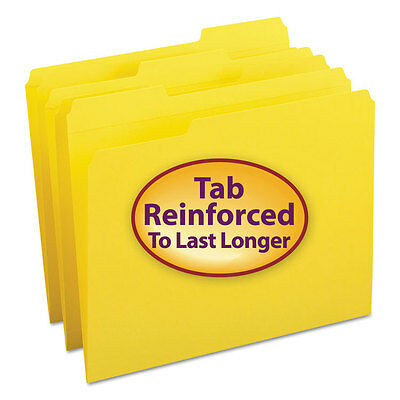 File Folders, 1/3 Cut, Reinforced Top Tab, Letter, Yellow, 100/Box