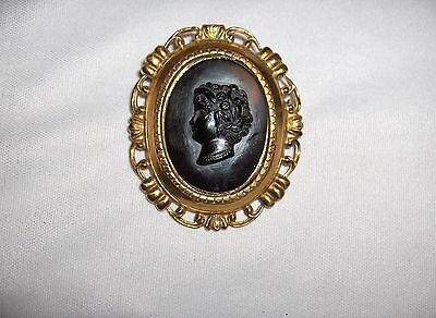 Vntage  Black Right Cameo  Costume Jewelry Brass Brooch Pin NICE