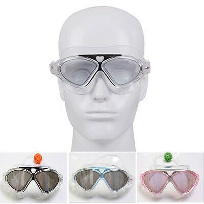 Professional Adult Swim Goggles Glasses Anti-fog UV Protection Black Adjustable