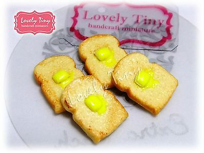 4 pieces Dollhouse miniature Toasts with butter, 2cm.high