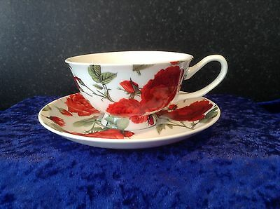 FINE BONE CHINA SET OF 6 CATHERINE ROSE CUPS AND SAUCERS