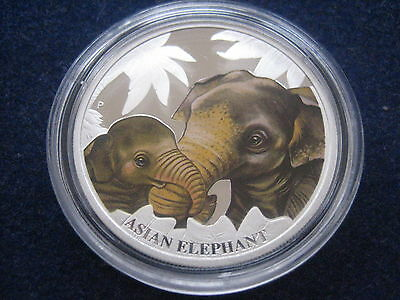 "Mds Tuvalu 50 Cents 2014 Pp / Proof ""asian Elephant"",  Silber"