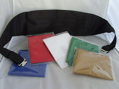 < Deal>Mens BLACK Polyester Cummerbund +1 FREE Hankie >Any choice from 5 Colours