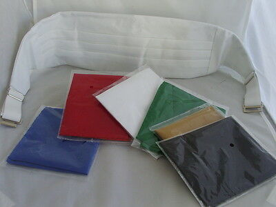 < Square Deal > Mens WHITE Cummerbund +1 FREE Hankie > Any choice from 6 Colours