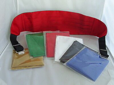 Mens RED Polyester Cummerbund+1 FREE Hanky in Blue,Red,White,Green,Black OR Gold