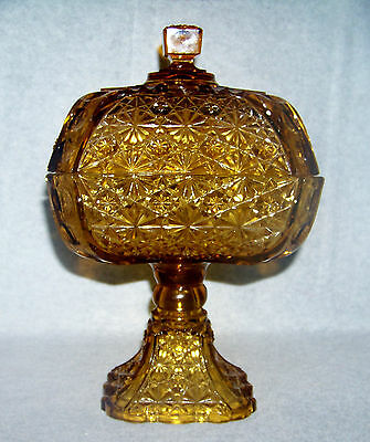 Adams & Co Glass Square Amber Daisy & Button w Thumbprint Panel Compote c 1891