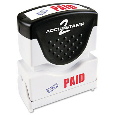 Accustamp2 Shutter Stamp with Microban, Red/Blue, PAID, 1 5/8 x 1/2