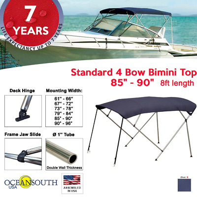 "BIMINI TOP 4 Bow Boat Cover Blue 85""-90"" Wide 8ft Long With Rear Poles"