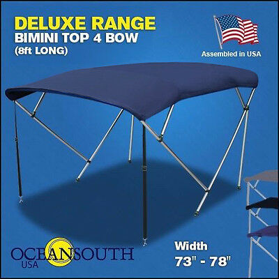 "BIMINI TOP 4 Bow Boat Cover Blue 73""-78"" With Rear Poles & Integrated Sock"
