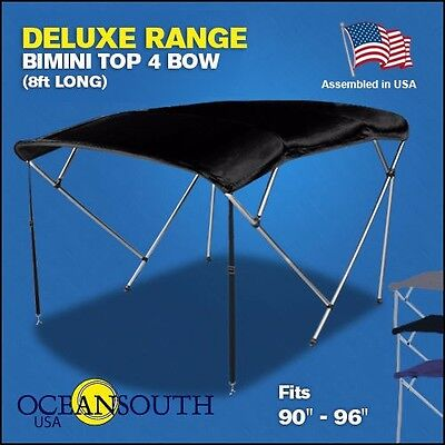 "BIMINI TOP 4 Bow Boat Cover Black 90""-96"" Wide 8ft Long With Rear Poles"