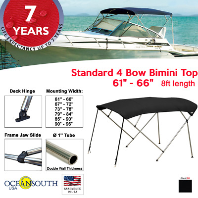 "BIMINI TOP 4 Bow Boat Cover Black 61""-66"" Wide 8ft Long With Rear Poles"