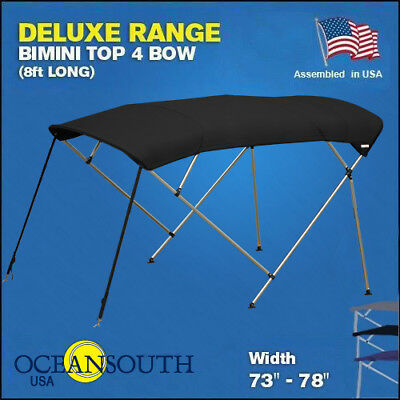 "BIMINI TOP 4 Bow Boat Cover Black 73""-78"" Wide 8ft Long With Rear Poles"
