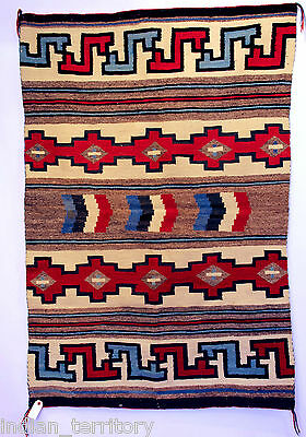"""Navajo Indian Rug 61""""x42"""" : Crystal Banded Classic Revival c.1940 - Rare blue"""