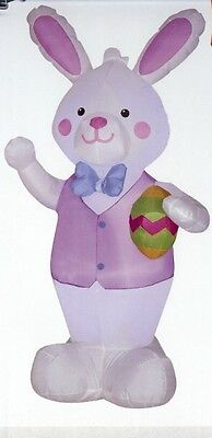 7' Tall Easter Bunny Rabbit Airblown Inflatable Gemmy Outdoor Decoration Lighted