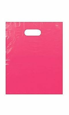 18 -12x15 Glossy Pink Low-Density Plastic Merchandise Bags WHandles Retail Bags