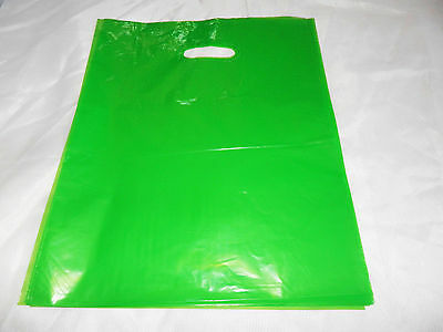 18 12x15 Glossy Lime Green Low-Density Plastic Retail Merchandise Bags WHandles
