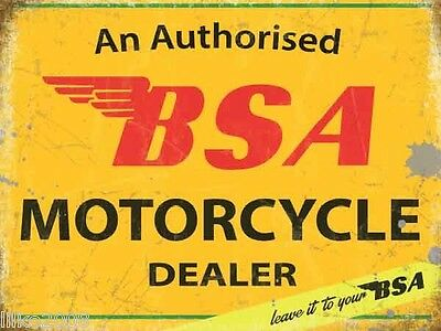 "BSA AUTHORISED MOTORCYCLE DEALER  12""X 8"" MEDIUM METAL SIGN 30X20cm BANTAM /A10"