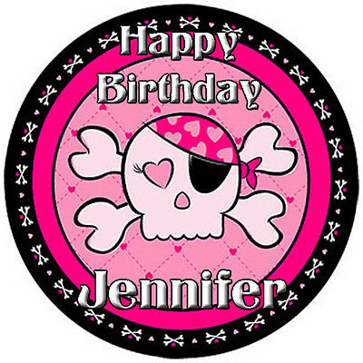 PINK Pirate GIRL Round Edible ICING Image Birthday CAKE Topper Decoration