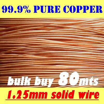 80mts BULK  SOLID BRIGHT COPPER WIRE, 1.25mm = 18G SWG = 16G AWG  FREE POSTAGE