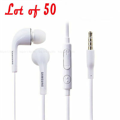 New Lot of 50 Samsung OEM Headset Headphone EO-HS3303WE Galaxy Note 2 3 S3 S4 S5