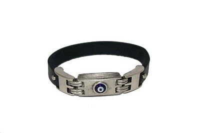 """Men's Leather Bracelet with Silver Plated Round Evil Eye 7""""-9"""""""