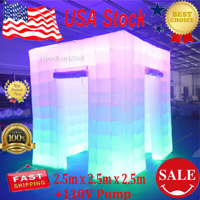 2 Door Inflatable LED Light Photo Booth Tent Party Birthdays Wedding 110V USA