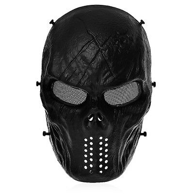 Black Airsoft Paintball Tactical Full Face Protection Skull Mask CS War BB Game