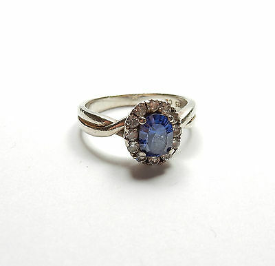 Modern 925 Sterling Silver BLUE & CLEAR GEM SET SOLITAIRE RING 4g UK Q USA 8