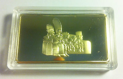 """""""THE SIMPSONS"""" Awesome 1 Troy Oz Ingot 999 24k Gold Layered Limited to only 500"""